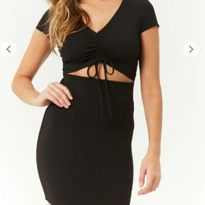 Tie front cut out black mini dress